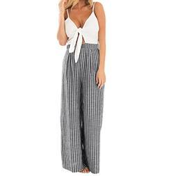 CocoMarket Women Bowknot Sleeveless Striped Print Jumpsuit C