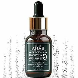 AHA 10% Glycolic Acid Peel Serum 1oz For Facial With Natural