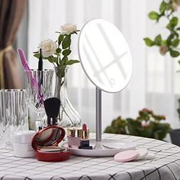 Dimmable LED Lighted Makeup Mirror with Organizer Base, Flow