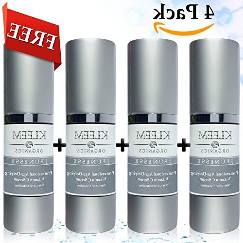 4 PACK Natural & Organic Anti Aging Vitamin C Serum for Face