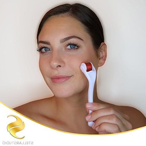 Derma Cosmetic Micro Needle Instrument Kit Face FREE C Serum 25% Acid, .25mm Titanium Microneedling Also Includes Free Case