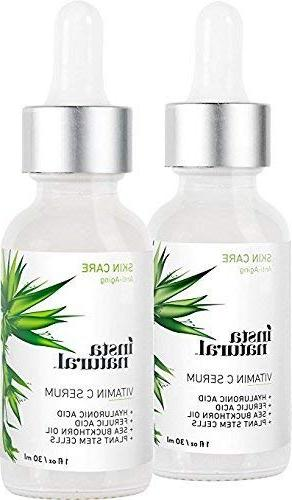 Vitamin C Serum - Age Benefits, Hyaluronic E, Brighten & Anti-Aging, Wrinkle Reducer Sun InstaNatural - Pack