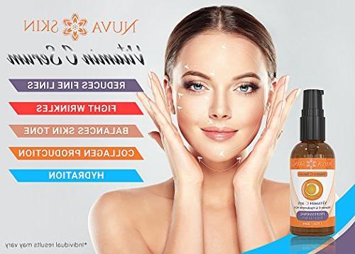 NUVA Vitamin Serum for Face and Eyes & E, Facial Serum Anti Wrinkle, Fades Age Spots Sun
