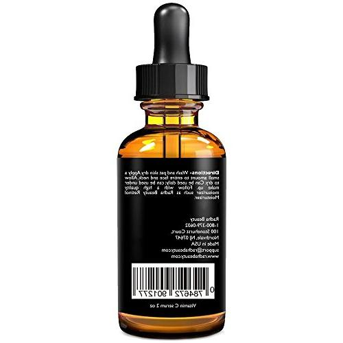 Radha Beauty Vitamin C Serum for fl. - Organic Vitamin + E + Hyaluronic Acid for Anti-Aging, Wrinkles, Fine - Radiant and
