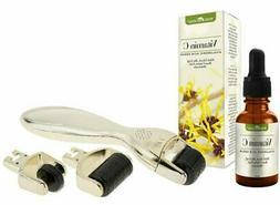 Microneedle Derma Roller 3 in 1 Gold Set & Vitamin C Serum w