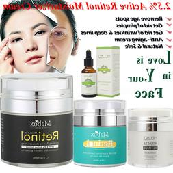 Retinol 2.5% Face Cream Serum Skin Anti Aging Wrinkles Hyalu