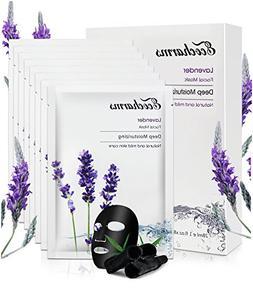 Ecocharms Black Hydrating Paper Masks/Lavender Facial Spa Se