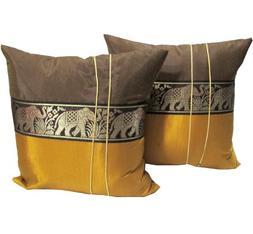 2 Pieces Thai Elephants Beautiful Thai Silk Throw Cushion, P